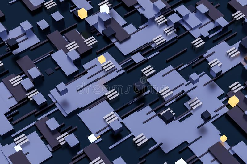 3d rendering, cubes board space, fantasy world. Computer digital image tech chip engineering technology motherboard circuit hardware processor electricity royalty free stock image