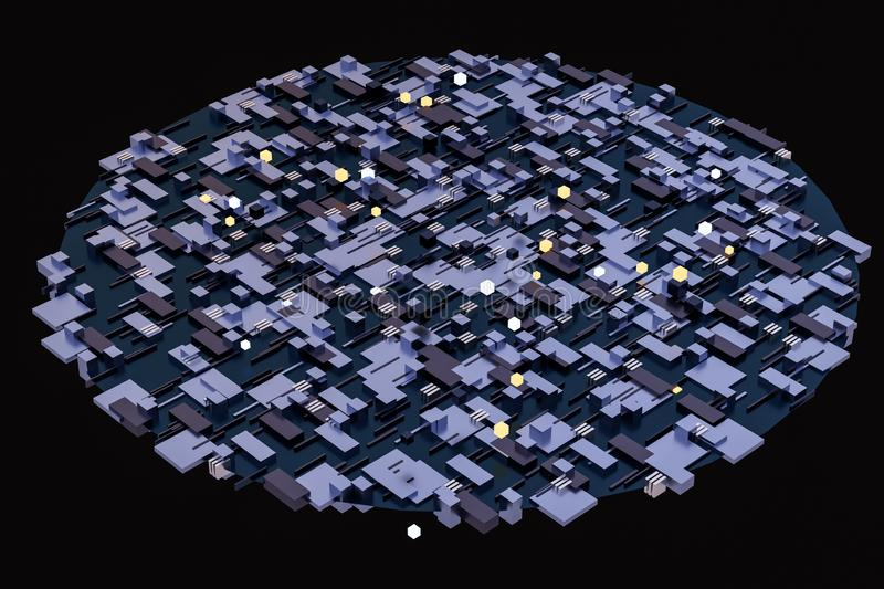 3d rendering, cubes board space, fantasy world. Computer digital image tech chip engineering technology motherboard circuit hardware processor electricity royalty free stock images