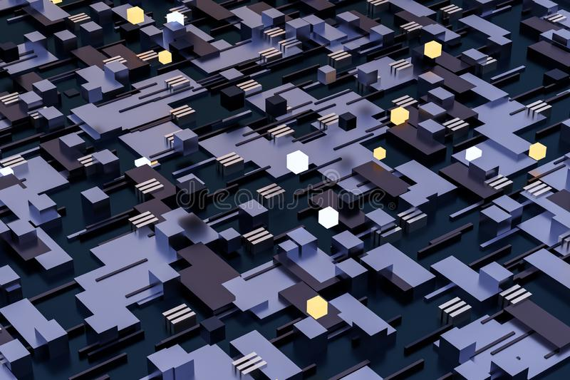 3d rendering, cubes board space, fantasy world. Computer digital image tech chip engineering technology motherboard circuit hardware processor electricity stock photography