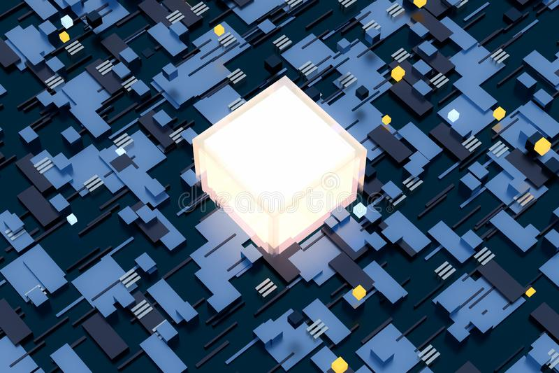 3d rendering, cubes board space, fantasy world. Computer digital image tech chip engineering technology motherboard circuit hardware processor electricity royalty free stock photos