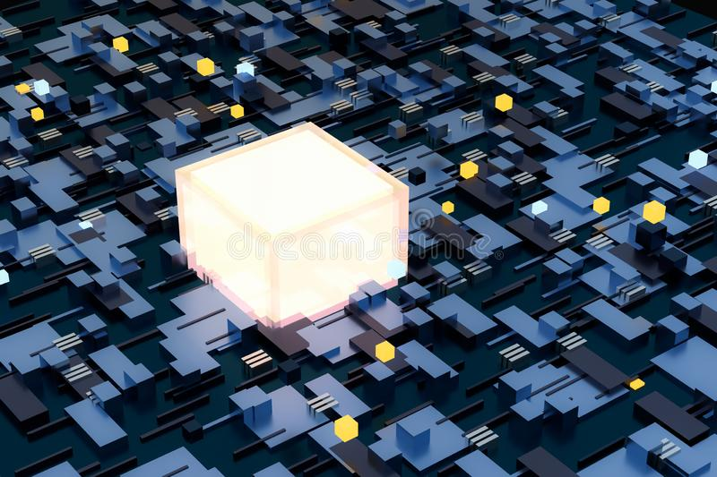3d rendering, cubes board space, fantasy world. Computer digital image tech chip engineering technology motherboard circuit hardware processor electricity stock photo