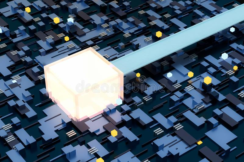 3d rendering, cubes board space, fantasy world. Computer digital image tech chip engineering technology motherboard circuit hardware processor electricity royalty free stock photo