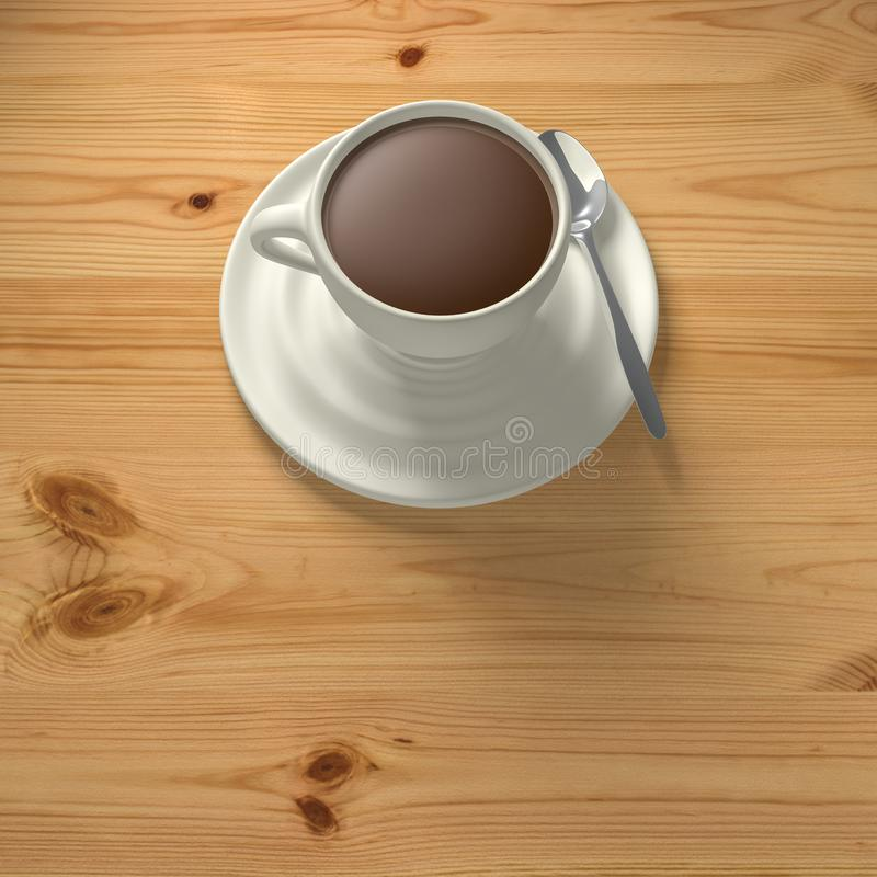3D Rendering cup of coffee with spoon on wood background stock illustration