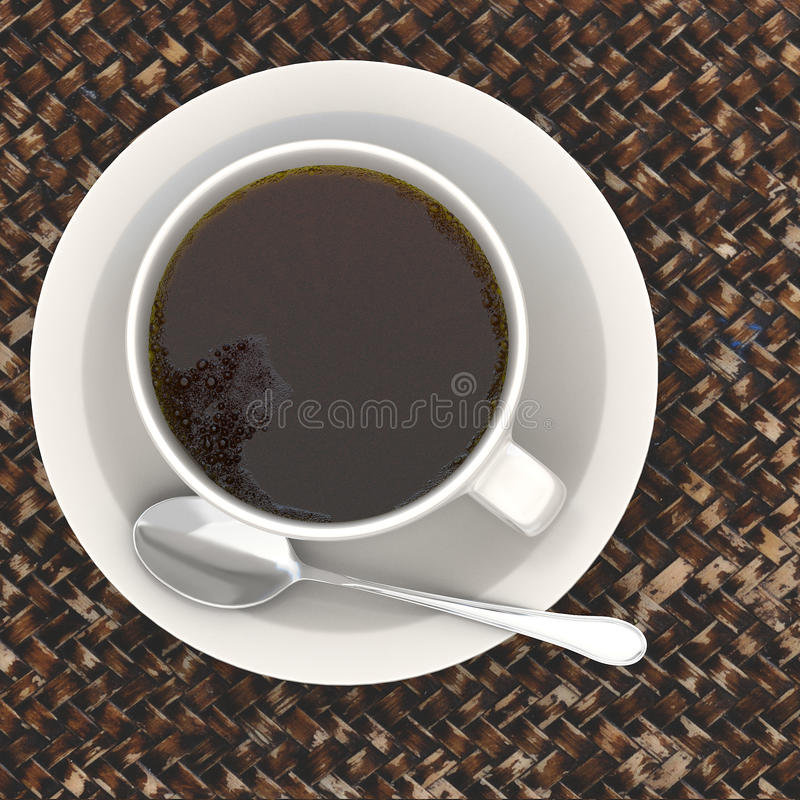 3d rendering Cup of coffee. 3d rendering white Cup of coffee stock illustration