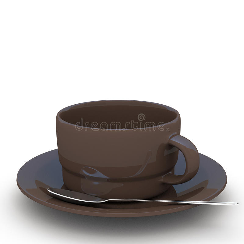 3d rendering Cup of coffee. On white background royalty free illustration