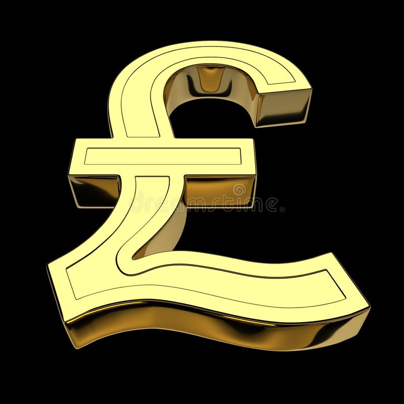 3D rendering of the currency symbol British pound or Lira, golden, isolated on black background stock illustration