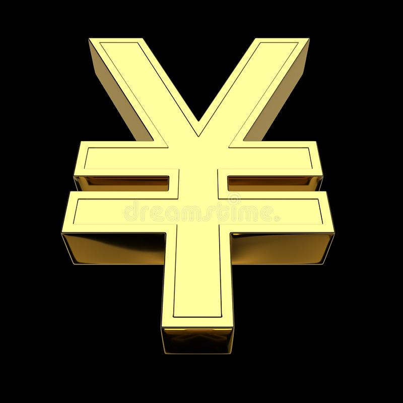 3D rendering of the currency symbol - Chinese yuan and Japanese yen, gold, isolated on black background stock illustration