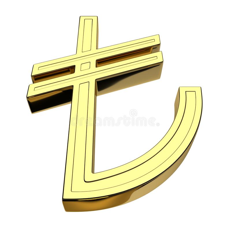 3D rendering of the currency symbol of the Turkish Lira, gold, isolated on white background stock illustration