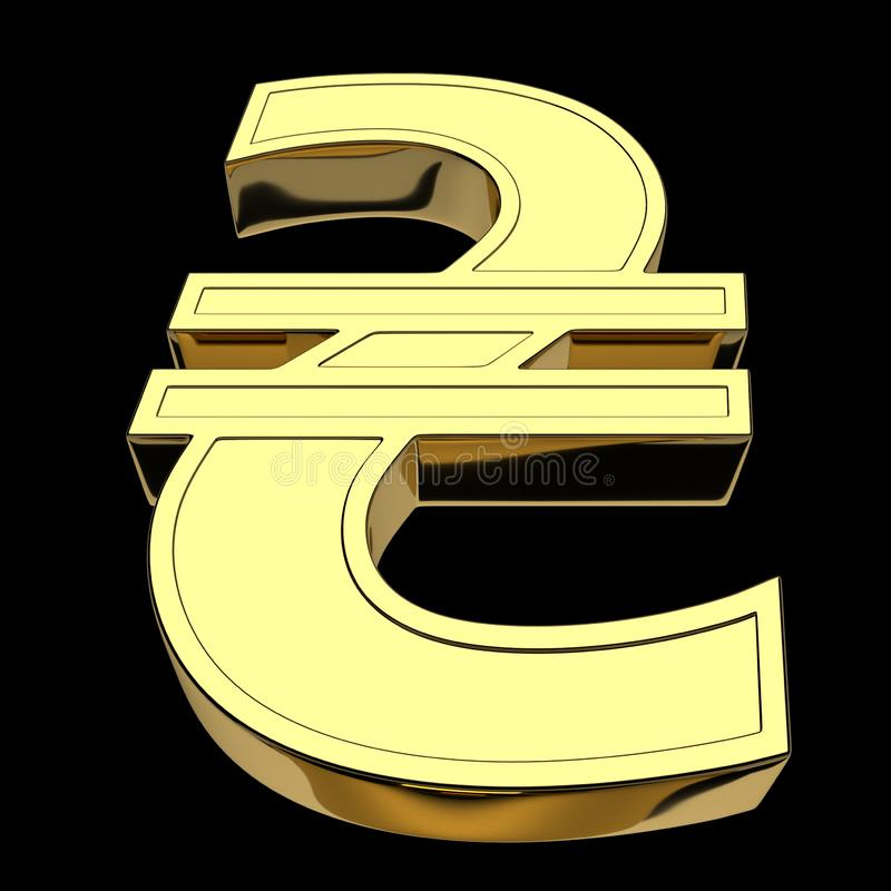 3D rendering currency symbol of Ukrainian hryvnia, golden, isolated on black background stock illustration
