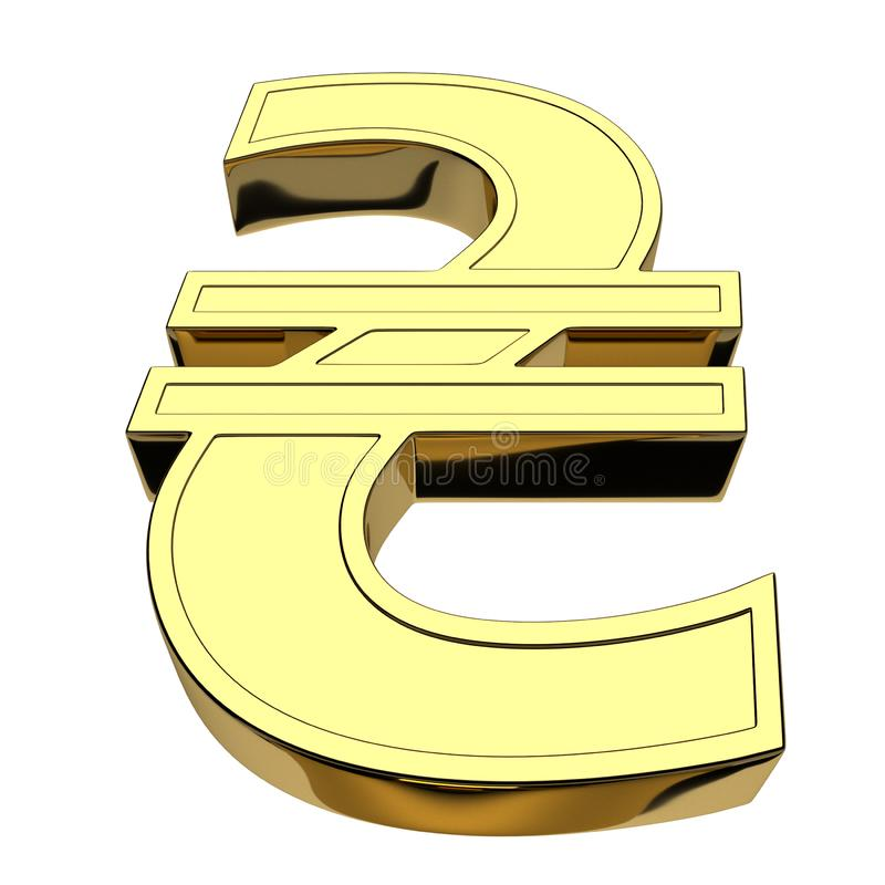 3D rendering currency symbol of Ukrainian hryvnia, golden, isolated on white background. Front view from below royalty free illustration