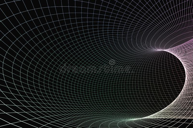 3d rendering, curve lines with dark background. Computer digital drawing, dark background, curve lines modern space science abstract mesh design black web art vector illustration