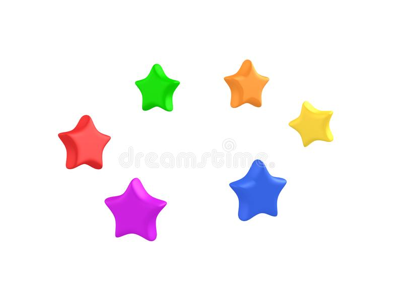 3D Rendering of cute bouncy colorful stars. 3D rendering isolated on white vector illustration
