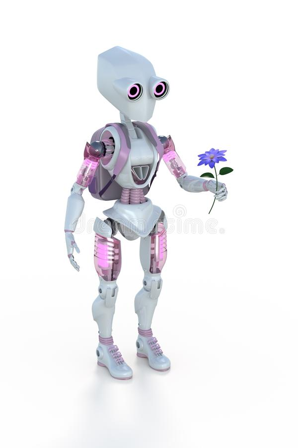3D Rendering of a Cute Girl Robot holding a Flower royalty free stock photography