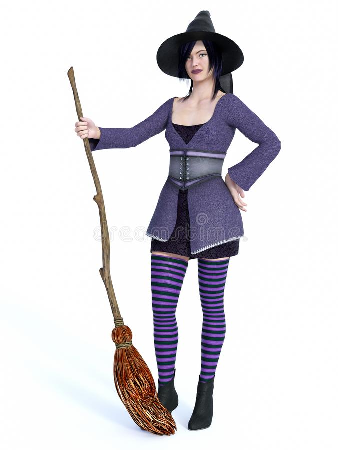 3D rendering of witch holding broom. 3D rendering of a cute pin-up styled witch dressed in purple clothes holding a broom. White background royalty free illustration