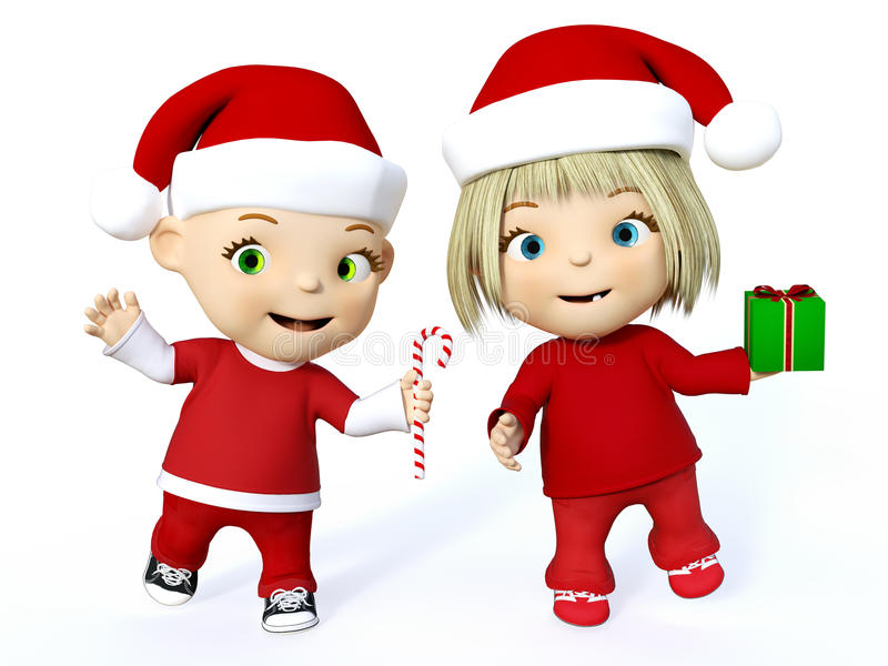 3D rendering of a cute toddler boy and girl at Christmas. Cute smiling cartoon toddler boy and girl dressed in Santa clothes and celebrating Christmas, 3D royalty free illustration