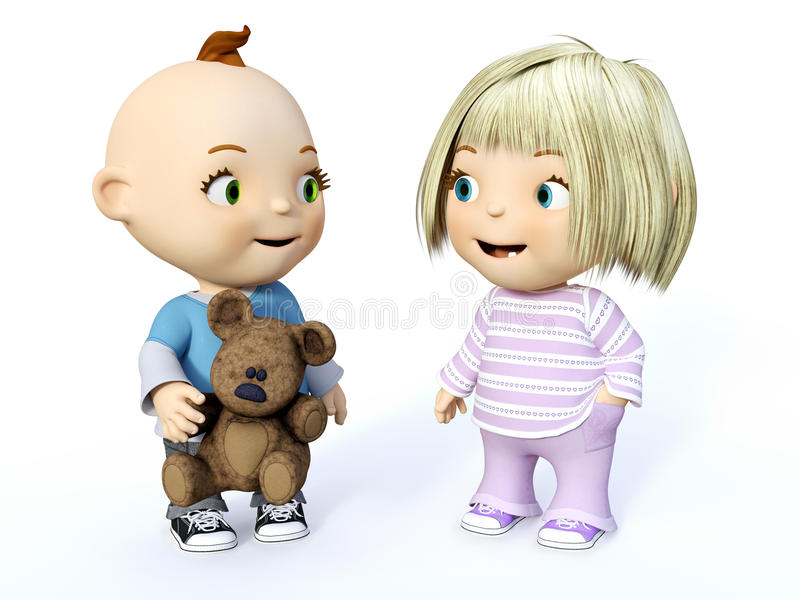 3D rendering of a cute toddler boy and girl looking at each other. Cute smiling cartoon toddler boy and girl looking at each other, 3D rendering. White royalty free illustration