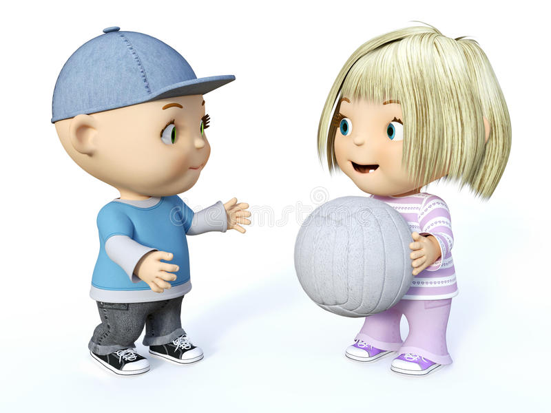 3D rendering of a cute toddler boy and girl playing ball. Cute smiling cartoon toddler boy and girl playing with a ball, 3D rendering. White background vector illustration