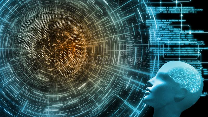 3D Rendering of cybernetic brain human cyborg`s head looking at dotted globe with wired network and hud interface. royalty free illustration
