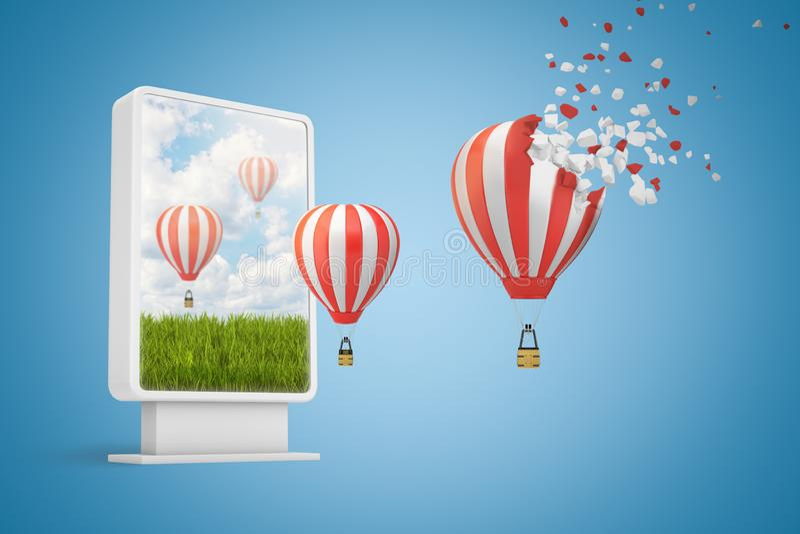 3d rendering cyfrowego pokazu seansu zieleni pole z pasiastymi gor?ce powietrze balonami lata z ekranu zamkni?ty ilustracja wektor