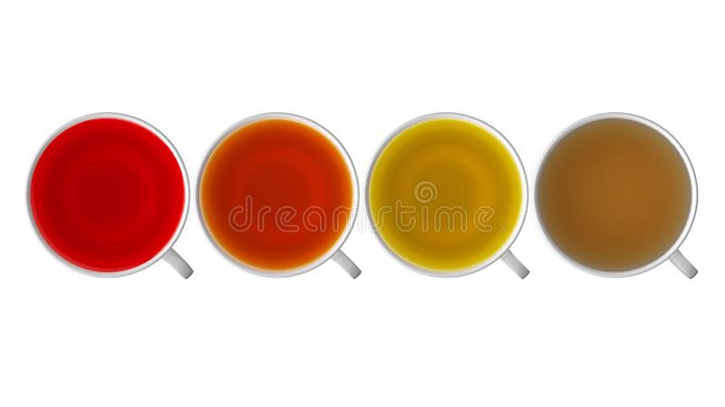 3d rendering Czarna herbata, zielona herbata, owocowe herbaciane filiżanki, herbaciany asortymentu boxe ilustracja wektor
