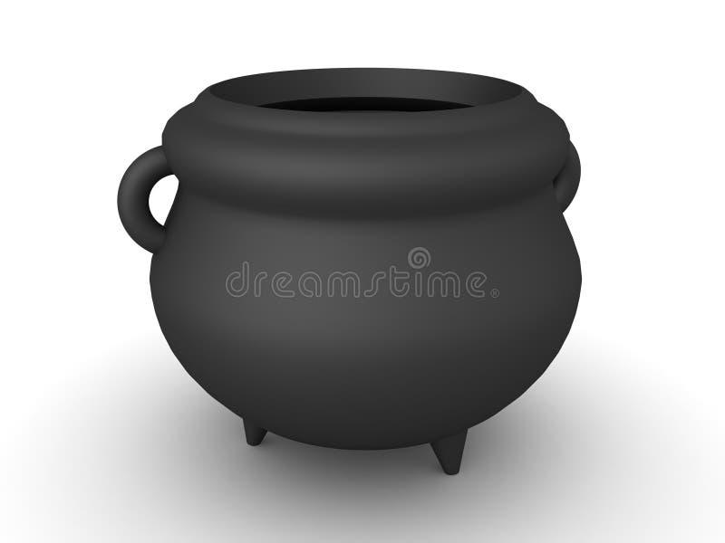3D rendering czarny kocioł ilustracja wektor