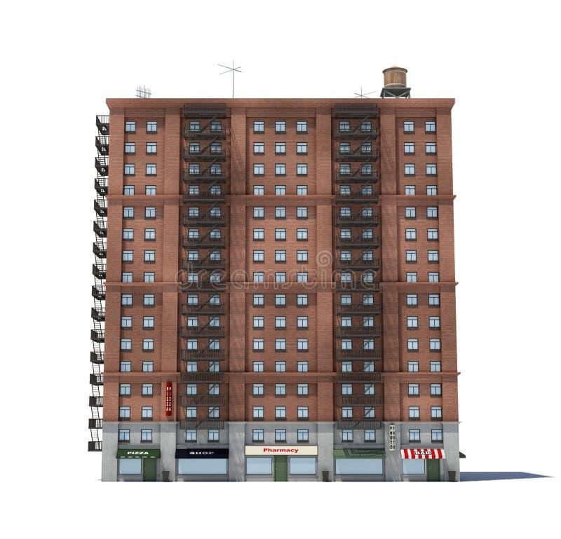 3d rendering czerwonej cegły budynek mieszkaniowy z pożarniczymi ucieczkami i sklepami na parterze ilustracja wektor