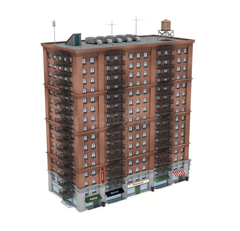 3d rendering czerwonej cegły budynek mieszkaniowy z pożarniczymi ucieczkami i sklepami na parterze ilustracji
