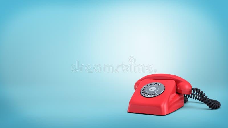 3d rendering czerwony retro obrotowy telefon z czarnym sznurem stoi nieużywanego na błękitnym tle ilustracja wektor