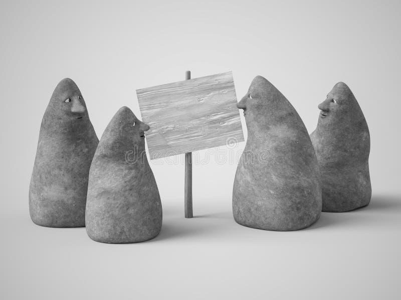 3D rendering cztery kamiennej postaci z twarzami royalty ilustracja
