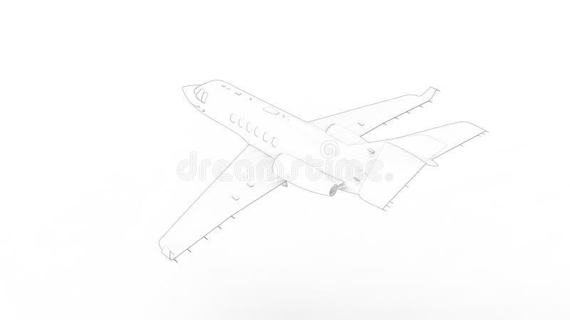 3D rendering dżetowy samolot odizolowywający w białym tle ilustracja wektor