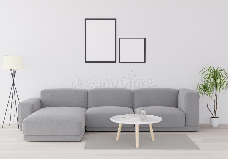3D rendering, 3D illustration,mock up poster with vintage pastel hipster minimalism loft interior background, wooden floor vector illustration