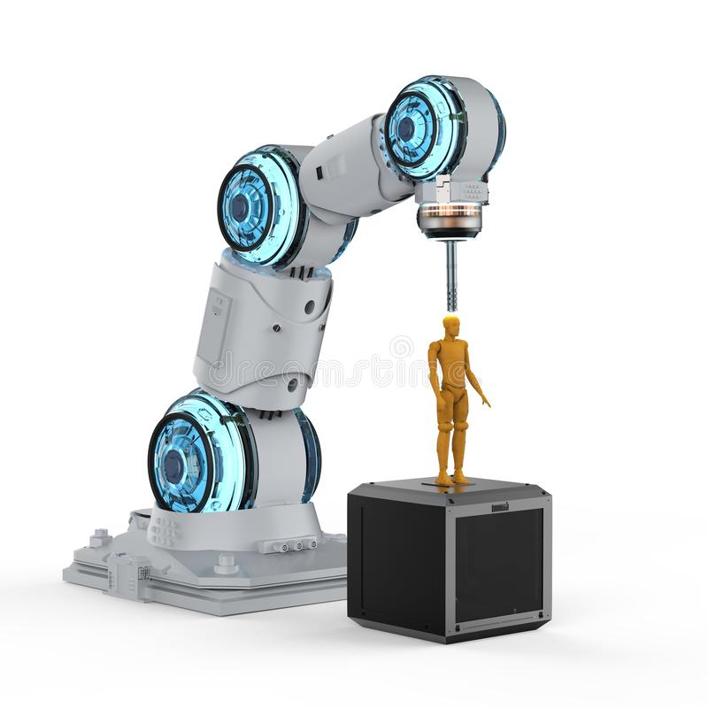 Robotic 3d printer. 3d rendering 3d printer printing human figure on white background stock illustration