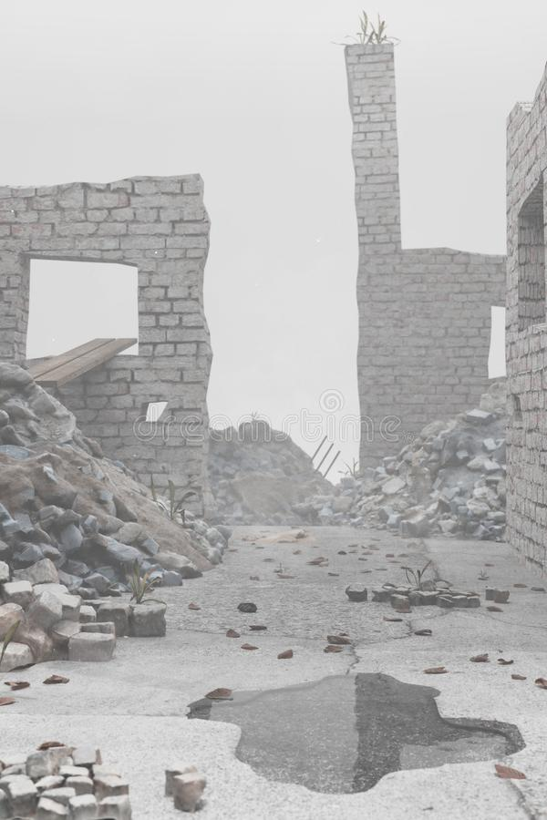 3d rendering of damaged street with pile of rubble and leftover brick walls. Selective Focus.  royalty free illustration