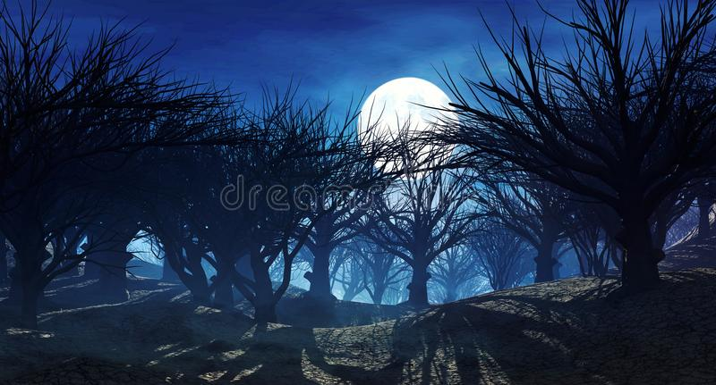 3d rendering of dark horror landscape with misty forest and big moon. 3d rendering of enchanted dark forest in the moonlight. Fantasy landscape with dried dead stock illustration