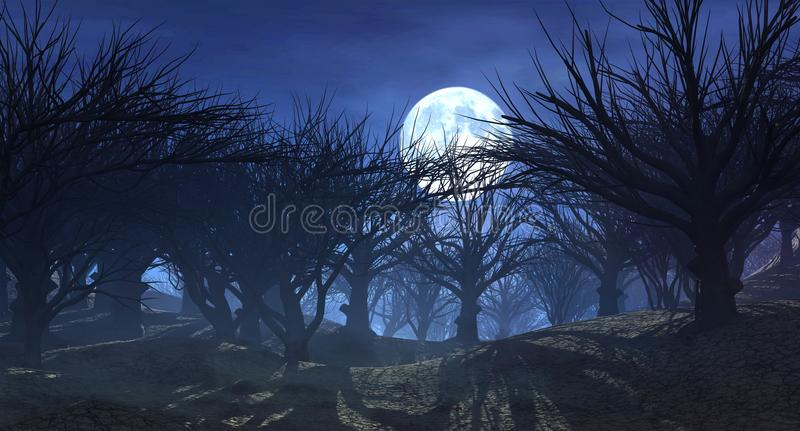 3d rendering of dark horror landscape with misty forest and big moon. 3d rendering of enchanted dark forest in the moonlight. Fantasy landscape with dried dead royalty free illustration