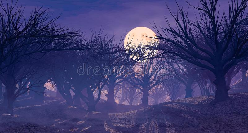 3d rendering of dark horror landscape with misty forest and big moon. 3d rendering of enchanted dark forest in the moonlight. Fantasy landscape with dried dead vector illustration