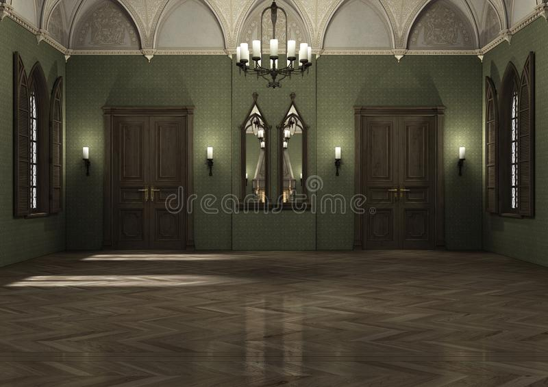3D Rendering Dark Palace. 3D rendering of a gothic medieval style dark palace royalty free illustration