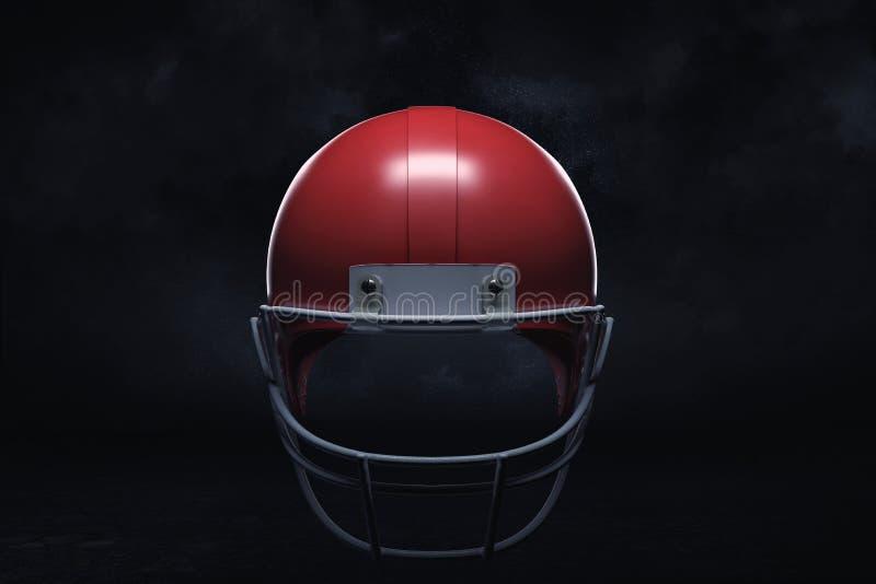 3d rendering of a dark red American football helmet shown on a black background. vector illustration