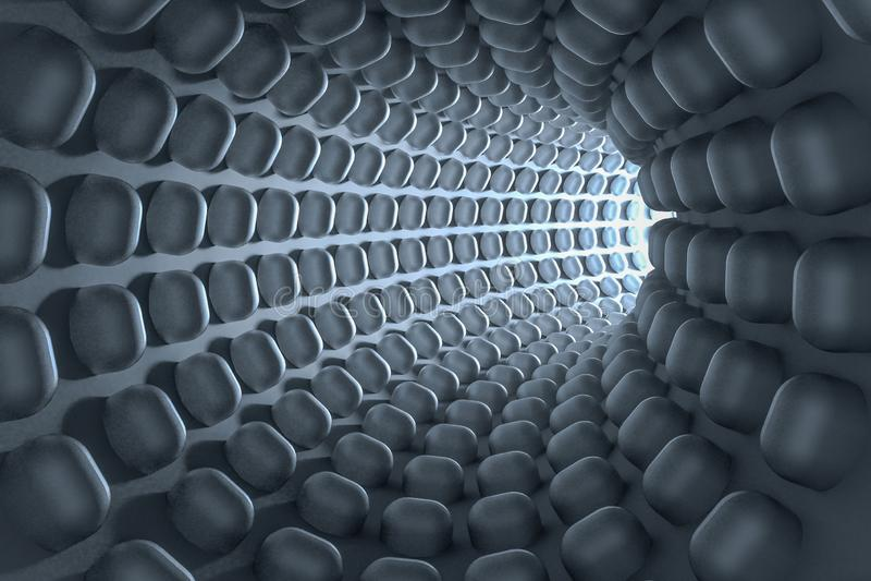 3d rendering, dark science-fiction tunnel, dark background stock illustration
