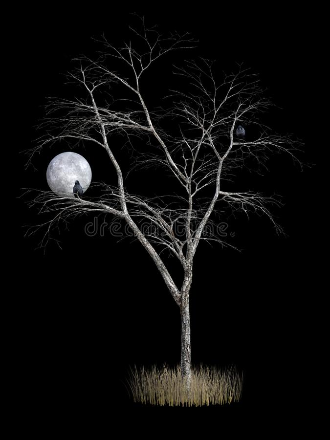 3D rendering of death tree. With crows and under the full moon vector illustration