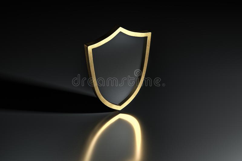 3d rendering, a defense shield with technological background royalty free illustration