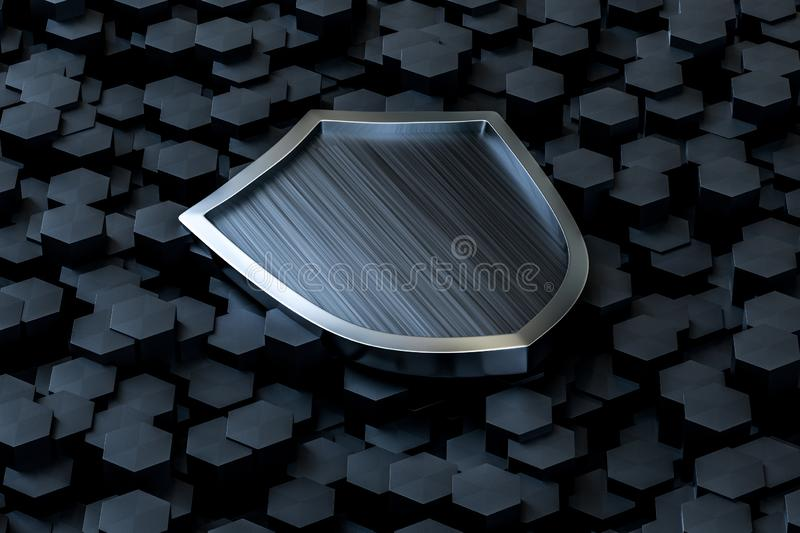 3d rendering, a defense shield with technological background. Computer digital background symbol protect emblem security protection shiny sign guarantee arms vector illustration