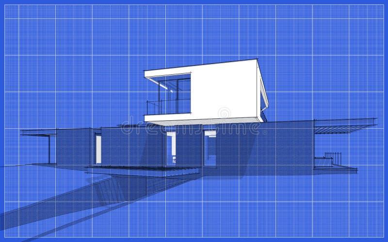 3d Rendering Della Casa Moderna Sulla Collina Con Una ...