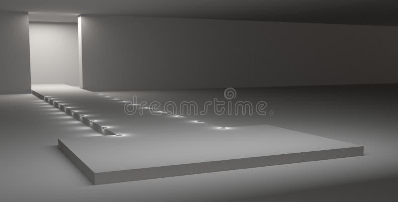 3D Rendering dello stadio del modello della pista Catwalk con podio di moda Disegno esterno Design Interior illustrazione di stock