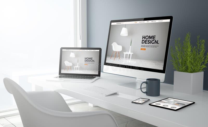 grey studio devices with interior design website royalty free illustration