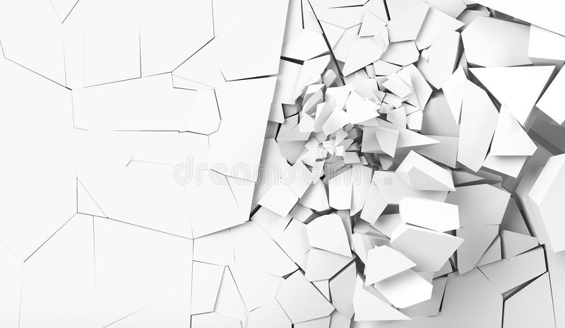 3d rendering destruction of wall. For background vector illustration