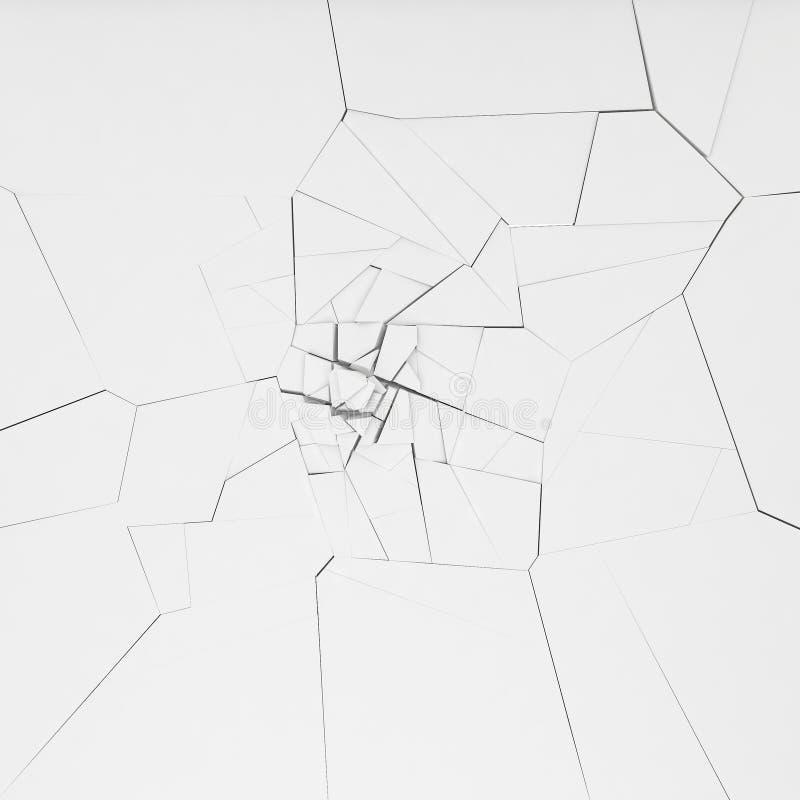 3d rendering destruction of wall. 3d rendering destruction of white wall stock illustration