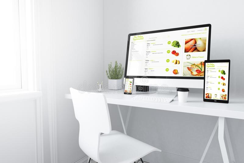 Devices on white minimal workspace online supermarket website. 3d rendering of devices on desktop. online supermarket on screens stock illustration