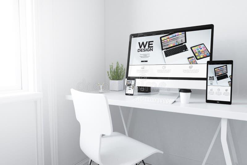 Devices on white minimal workspace responsive design website. 3d rendering of devices on desktop. responsive design mobile apps website on screens royalty free illustration