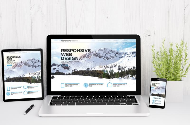 devices on table with responsive design stock illustration